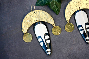 Large African Mask Statement Earrings