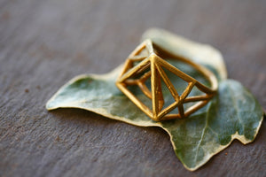 Geometric 3D Brass Ring