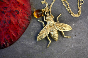 Long Bee Necklace and honey Drop
