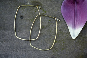 Brass Hoop Square Earrings