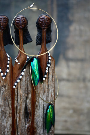 Beetle Shell Hoop Earrings