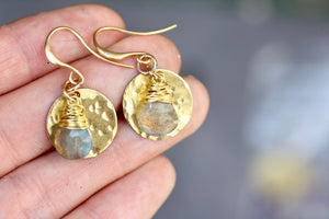 Labradorite Drop and Raw Brass Earrings