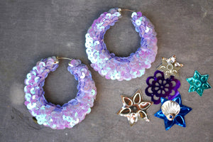 Lilac sequin Hoop Earrings