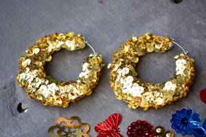 Gold Sequin Hoop Earrings