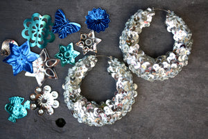 Silver Sequin Hoop Earrings