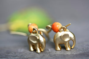 Elephant and Coral Earrings