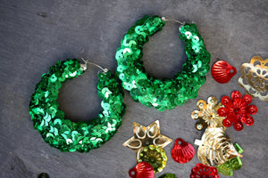 Green sequin Hoop Earrings