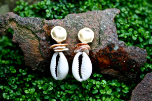 18k Gold Covered Cowrie Shell Earrings