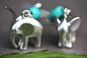 Silver elephant and Turquoise Earrings