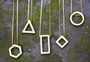 Brass Geometric Necklaces