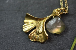 Labradorite and Gingko Leaf Necklace