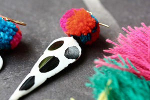Batik spotty pom pom earrings