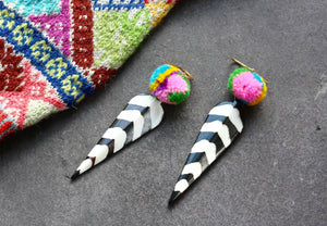 Batik Stripe Pom Pom Earrings