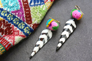 Black and White, Pom Pom Earrings