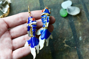 Dark Blue Fish Earrings