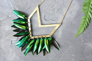 Beetle Shell Geometric Necklace