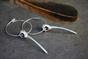 Sparrow bird hoop earrings