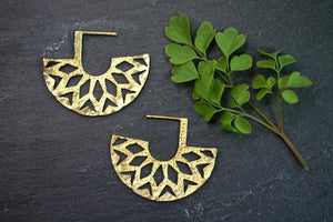 Geometric Half Circle Brass Earrings