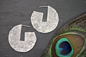 Geometric Brass Silver Earrings - Large