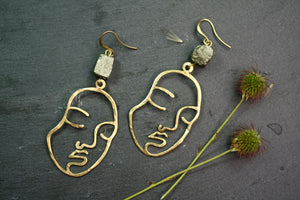 Face Earrings with Hematite Finish
