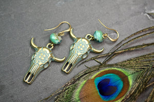 Patina Ox Skull Earrings