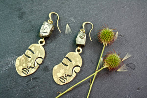 Face Abstract Earrings with Hematite Finish