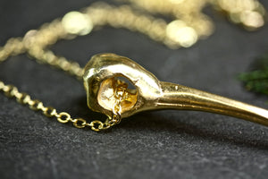 Humming Bird Skull Gold Filled