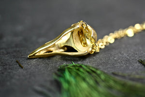 Bird Skull Necklace, Gold Filled