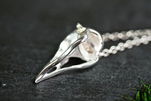 Bird skull necklace, Sterling Silver