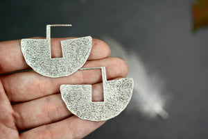 Geometric Half Circle Brass Silver Earrings