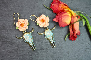 Patina Ox Skull Earrings with pink rose