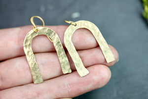 Geometric Brass Earrings - Horse Shoe