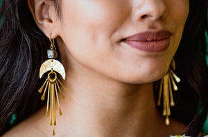 Large Fringe Earrings with Hematite