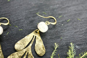 Pearl and Leaf Earrings