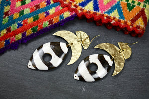 Striped African Shield Earrings