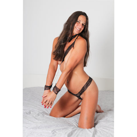 Submissive Lacey Cuffs and Collar with Open Bra and Panty Set