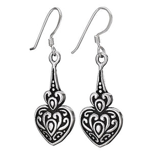 Carved Heart Drop Earring