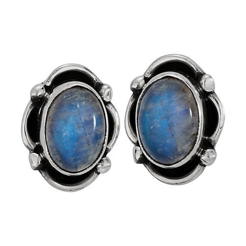 Oval Labradorite Post Earring