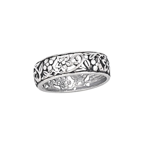 Open Flower Band Ring