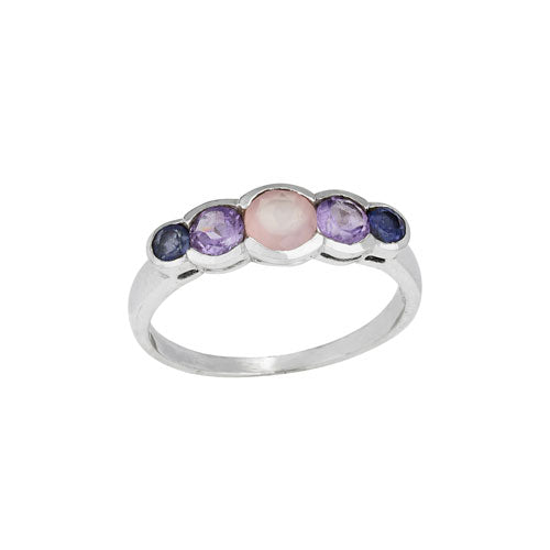 IOL/ Amethyst/ Rose Five Stone Ring