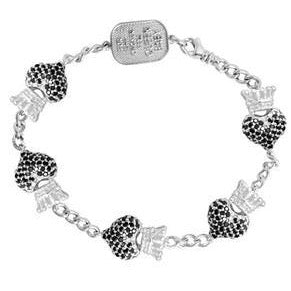 Black CZ Crowned Heart Motif Bracelet