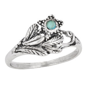 Round Turquoise Leafy Ring