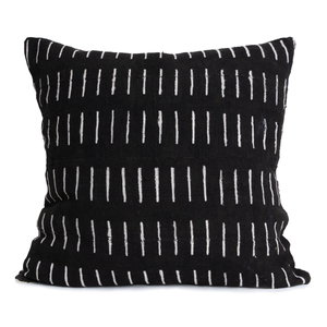 Kirby | Columns and Lines | Black Mud Cloth Pillow Cover