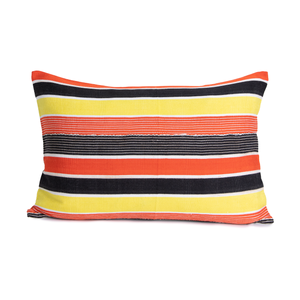 Aliya | Striped Mud Cloth Pillow Cover | Orange | Yellow | Brown | White | Limited