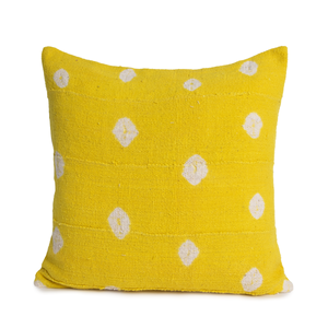 Nichole | Yellow Polka Dots | Mud Cloth Pillow Cover | Limited Design
