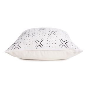 Bethany | X's and O's | Black and White | Mud Cloth Pillow Cover | White Pillow