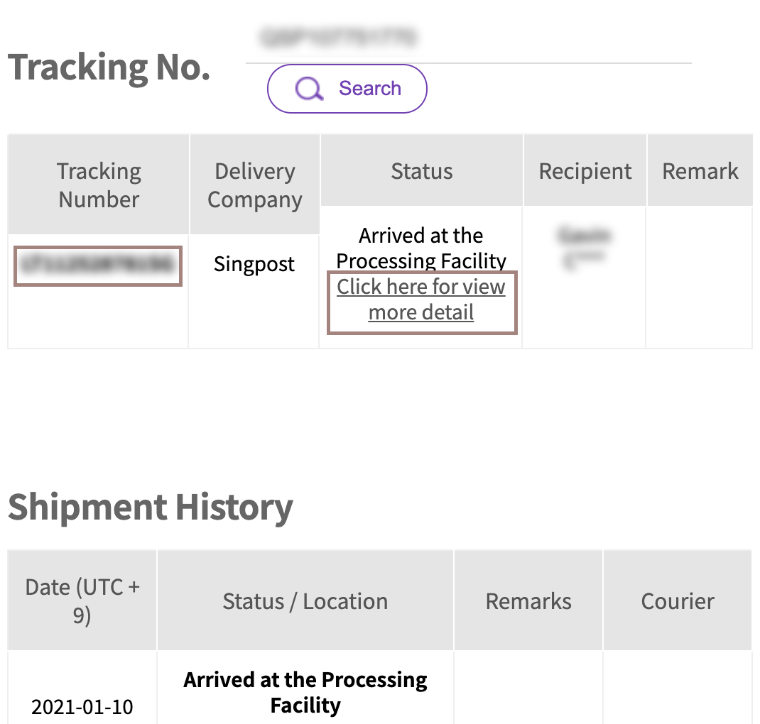 overseas shipping track