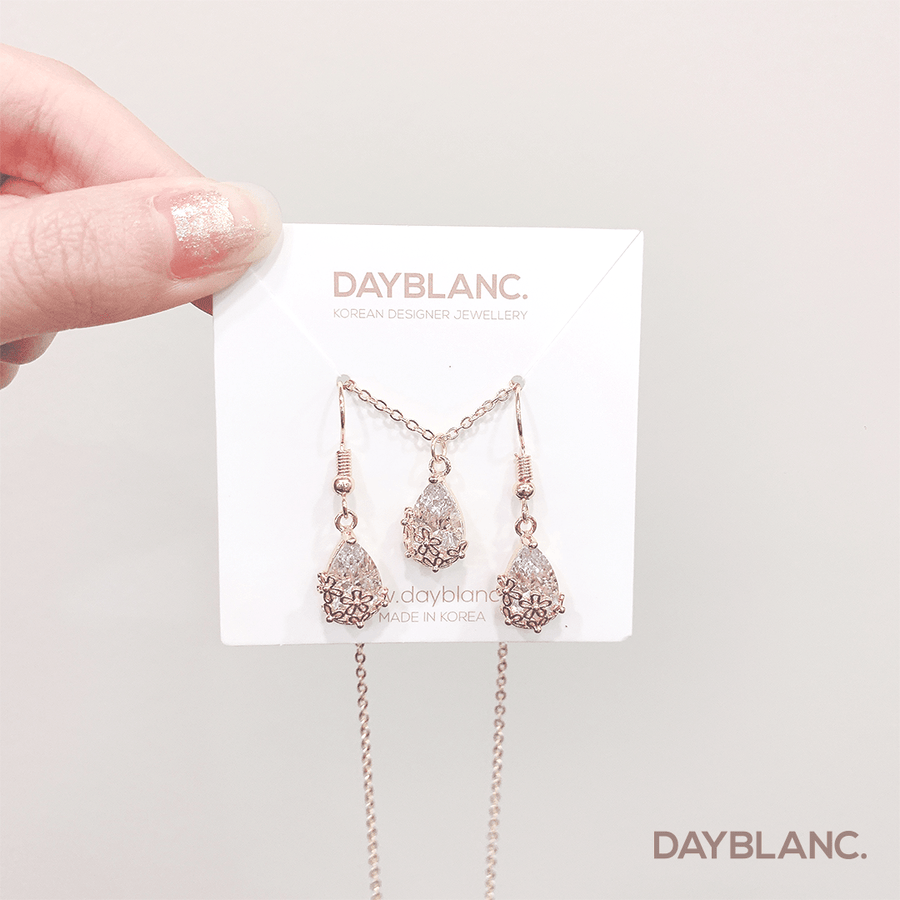 Floral Stone Necklace Set (Earring + Necklace) - DAYBLANC