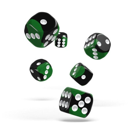 OAKIE DOAKIE DICE: D6 16MM GLOW IN THE DARK - BIOHAZARD (12CT) | Game Knights | MA | Game Knights MA