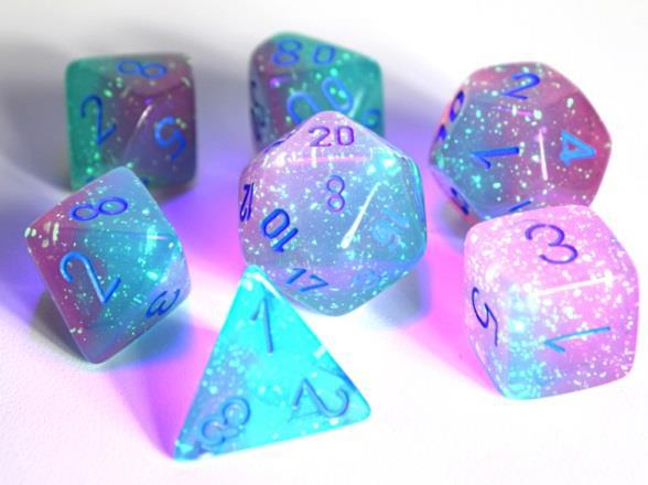 Lab Dice 3 Gemini: Poly Luminary Gel Green/Pink/Blue (7) | Game Knights | MA | Game Knights MA